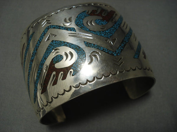 Huge Vintage Navajo Singer Family Turquoise Sterling Native American Jewelry Silver Bracelet Old