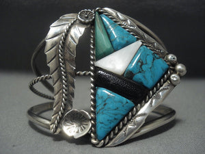 Huge Vintage Navajo Spiderweb Turquoise Sterling Native American Jewelry Silver Coral Bracelet Old-Nativo Arts