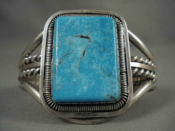 Huge Vintage Navajo 'Squared Blue Diamond Turquoise' Native American Jewelry Silver Bracelet