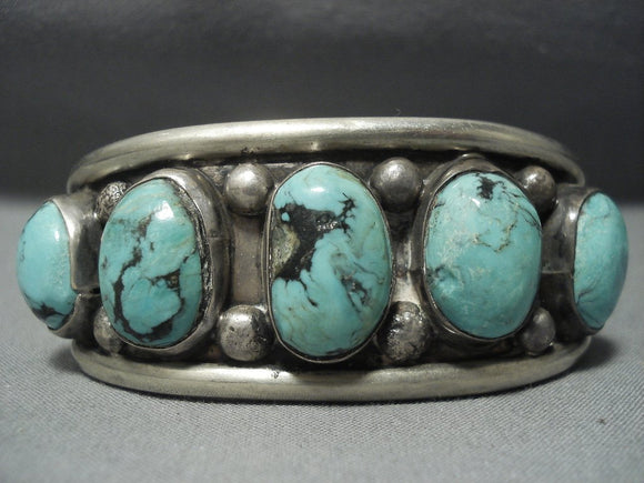 Huge!! Vintage Navajo Sterling Native American Jewelry Silver Blue Diamond Turquoise Bracelet-Nativo Arts