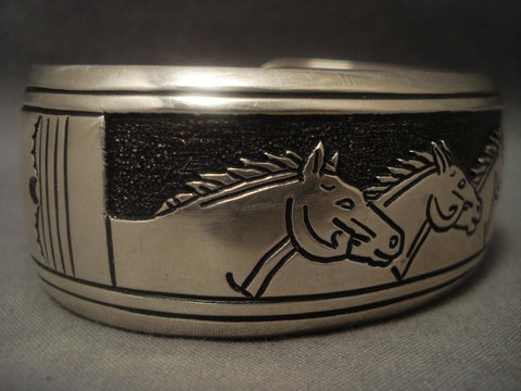 Huge Vintage Navajo Thomas Singer Native American Jewelry Silver Horse Bracelet-Nativo Arts