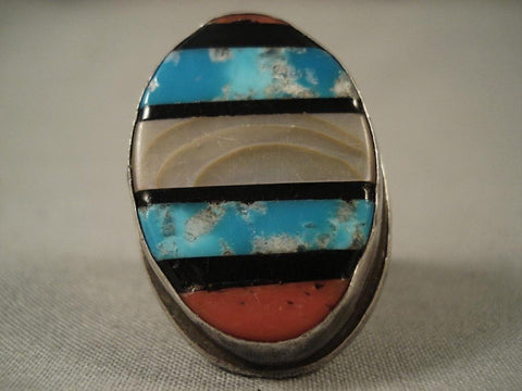 Huge Vintage Navajo Turquoise Channel Native American Jewelry Silver Ring-heavy-Nativo Arts