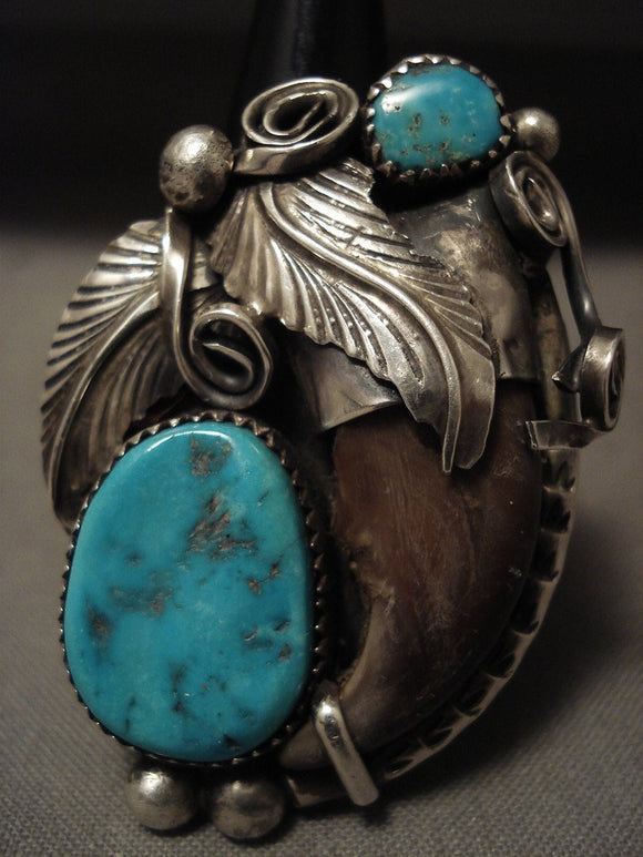 Huge Vintage Navajo Turquoise Native American Jewelry Silver Garden Ring Old-Nativo Arts