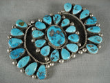 Huge Vintage Navajo Turquoise Native American Jewelry Silver Pin-Nativo Arts
