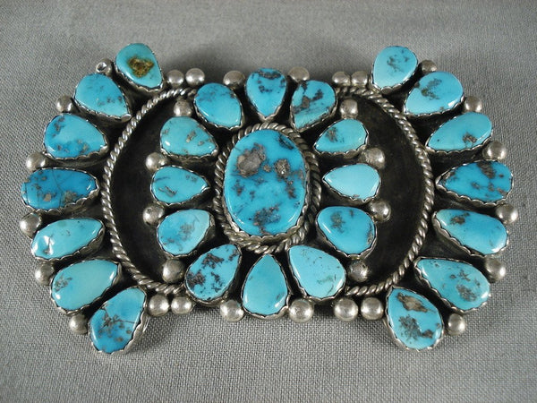 Huge Vintage Navajo Turquoise Native American Jewelry Silver Pin