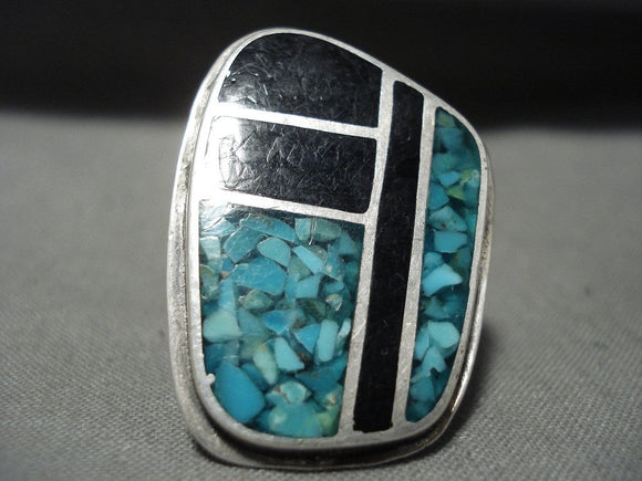 Huge Vintage Navajo Turquoise Onyx Inlay Native American Jewelry Silver Ring Old-Nativo Arts