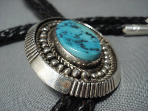 Huge Vintage Navajo Turquoise Sterling Native American Jewelry Silver Bolo Tie Old Pawn Jewelry-Nativo Arts