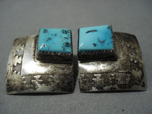 Huge Vintage Navajo Turquoise Sterling Native American Jewelry Silver Earrings Old Pawn-Nativo Arts