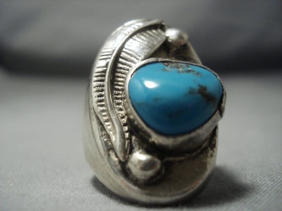 Huge Vintage Navajo Turquoise Sterling Native American Jewelry Silver Feather Ring Old-Nativo Arts