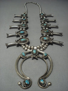Huge!! Vintage Navajo Turquoise Sterling Native American Jewelry Silver Squash Blossom Necklace Old-Nativo Arts