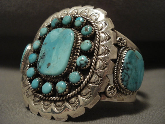 Huge Vintage Navajo Turquoise Sun Native American Jewelry Silver Bracelet-Nativo Arts