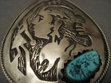 Huge Vintage navajo Woman Native American Jewelry Silver Turquoise Pendant-Nativo Arts