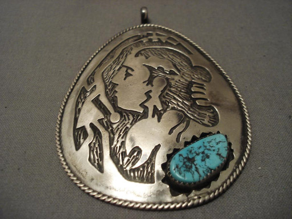 Huge Vintage navajo Woman Native American Jewelry Silver Turquoise Pendant
