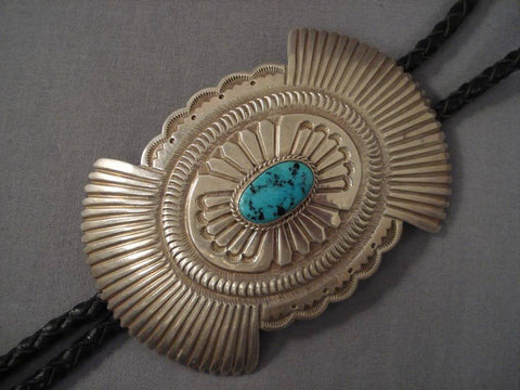Huge Vintage Navajo Yazzie Turquoise Native American Jewelry Silver Bolo Tie-Nativo Arts