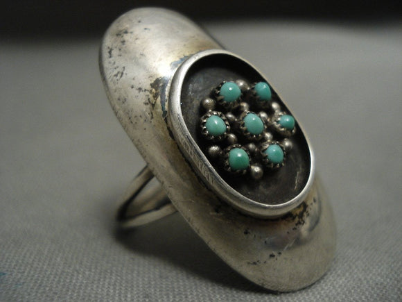 Huge Vintage Navajo/ Zuni Snake Eyes Turquoise Native American Jewelry Silver Ring-Nativo Arts