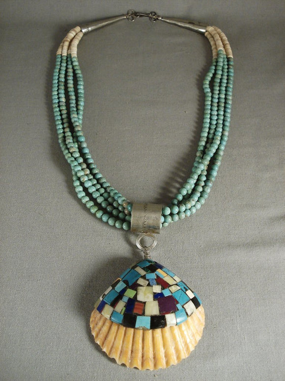 Huge Vintage Santo Domingo Turquoise Green 'Mosaic Inlay' Native American Jewelry Silver Necklace-Nativo Arts