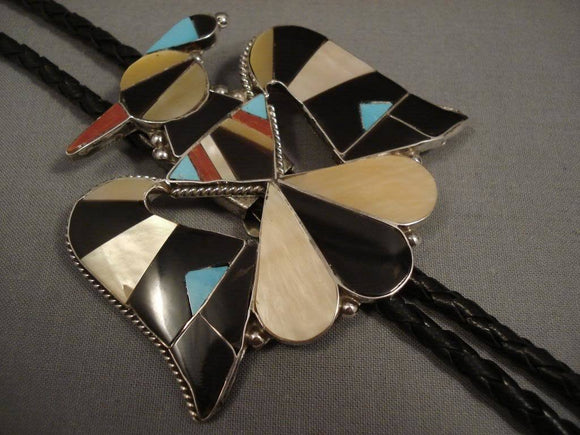 Huge Vintage Zuni/ Navajo Bird Turquoise Native American Jewelry Silver Bolo Tie-Nativo Arts