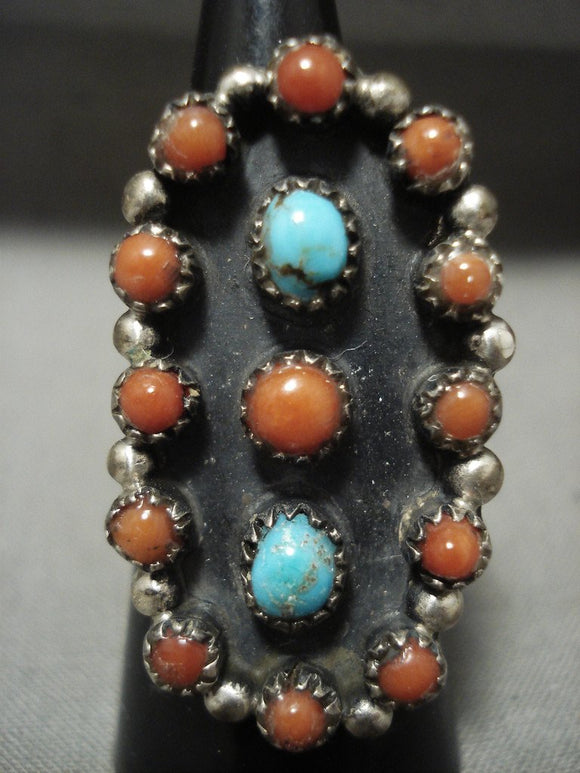 Huge Vintage Zuni/ Navajo 'Coral Turquoise Snake Eyes' Native American Jewelry Silver Ring-Nativo Arts