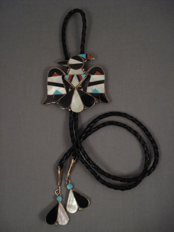 Huge Vintage Zuni Turquoise Bird Native American Jewelry Silver Bolo Tie-Nativo Arts