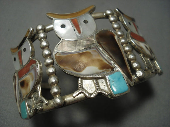 Huge Vintage Zuni Turquoise Coral Owl Sterling Native American Jewelry Silver Bracelet-Nativo Arts