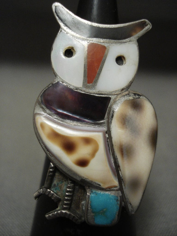 Huge Vintage Zuni Turquoise Shell Coral Native American Jewelry Silver Ring Old-Nativo Arts
