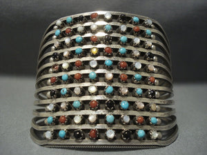 Huge Vintage Zuni Turquoise Sterling Native American Jewelry Silver Bracelet Old Pawn Cuff Jewelry-Nativo Arts