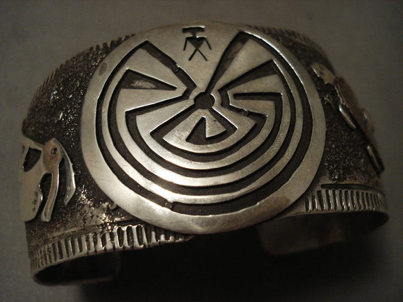 Huge Vintga Enavajo/ Hopi Native American Jewelry Silver Turtle Kokopelli Native American Jewelry Silver Bracelet-Nativo Arts
