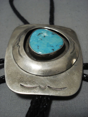 Huge Xxl Vintage Native American Jewelry Navajo Blue Gem Turquoise Sterling Silver Bolo Tie Old-Nativo Arts
