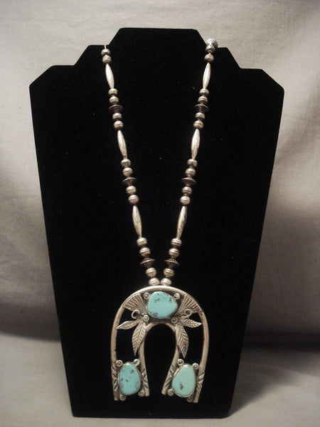 Humongous Vintage Navajo horseshoe Naja Native American Jewelry Silver Turquoise Necklace Old
