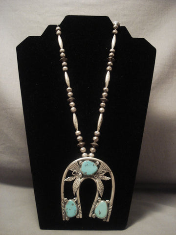 Humongous Vintage Navajo horseshoe Naja Native American Jewelry Silver Turquoise Necklace Old-Nativo Arts