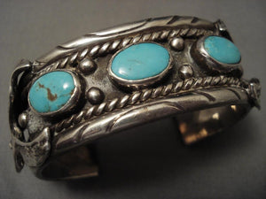 Husky Vintage Navajo Eagle Easter Blue Turquoise Native American Jewelry Silver Bracelet-Nativo Arts
