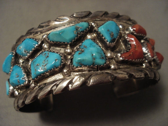 Hvy And Thick Chunky Vintage Zuni Turquoise Coral Native American Jewelry Silver Bracelet-Nativo Arts
