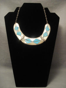 Hvy And Very Old Vintage Zuni Turquoise Pearl Inlay Native American Jewelry Silver Necklace-Nativo Arts