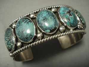 Hvy Navajo **domed Green Turquoise** Sterling Native American Jewelry Silver Bracelet-Nativo Arts