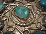 Hvy Old Navajo 1950's Turquoise Native American Jewelry Silver Necklace-Nativo Arts