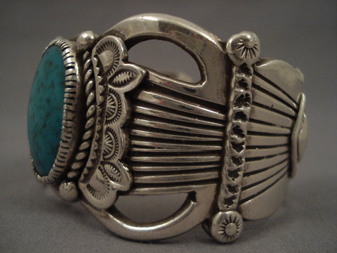Hvy Old Navajo Domed Turquoise Native American Jewelry Silver flank Bracelet-Nativo Arts