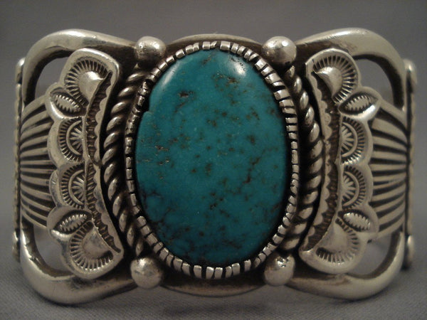 Hvy Old Navajo Domed Turquoise Native American Jewelry Silver flank Bracelet