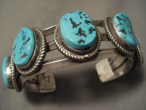 Hvy Vintage Navajo 5'stone Turquoise Native American Jewelry Silver Bracelet-Nativo Arts