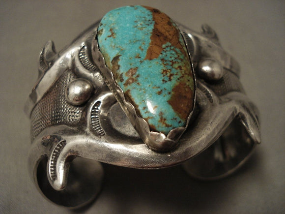Hvy Vintage Navajo 'Natural Royston Turquoise' Native American Jewelry Silver Bracelet-Nativo Arts