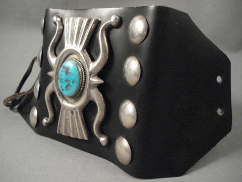 Hvy Vintage Navajo swirl And Cast Turquoise Native American Jewelry Silver Ketoh Bracelet-Nativo Arts
