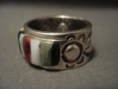 Im Portant Vintage Navajo Ray Adakai Turquoise Native American Jewelry Silver Ring Size 10-Nativo Arts