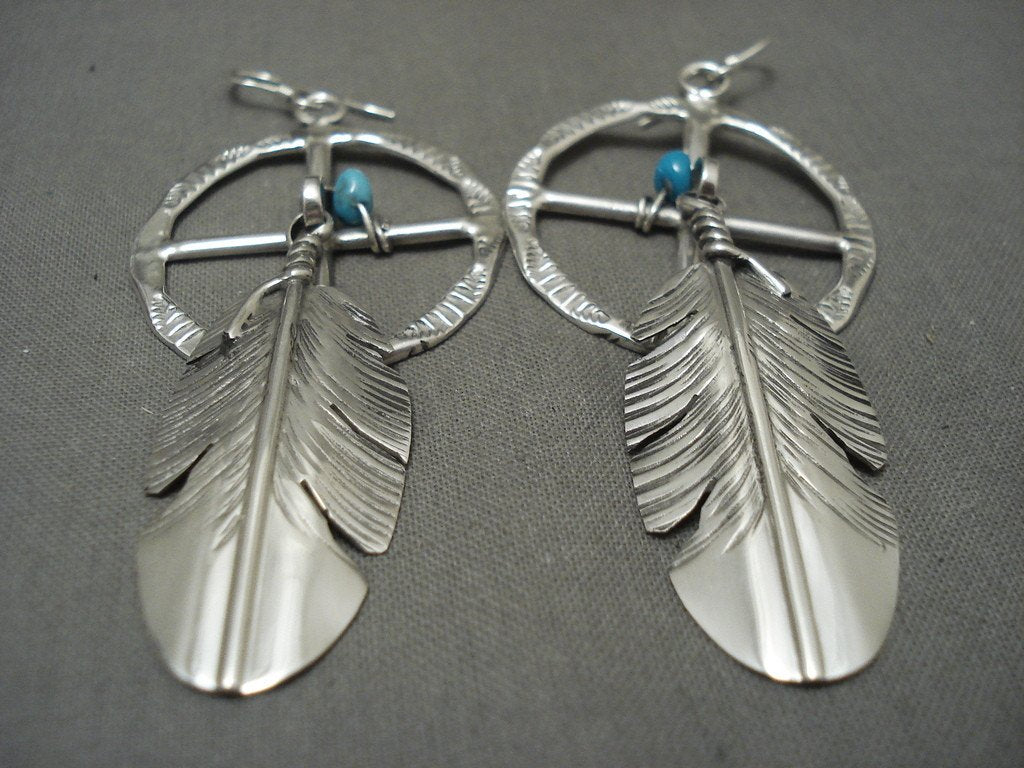 Important Vintage Native American Navajo Ben Begaye Turquoise Sterling Silver Feather Earrings