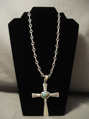 Important 92 Grams Super Heavu Navajo Ben Begaye Native American Jewelry Silver Turquoise Necklace-Nativo Arts