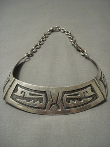 Important And Best Vintage Hopi Stephen Hyson Naseyoma Native American Jewelry Silver Necklace Old-Nativo Arts