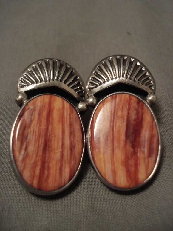 Important And Huge Vintage Navajo Orville Tsinnie Shell Native American Jewelry Silver Earrings-Nativo Arts