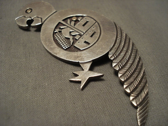 Important And Huge Vintage Santo Domingo Joseph Coriz Parrit Native American Jewelry Silver Pin-Nativo Arts