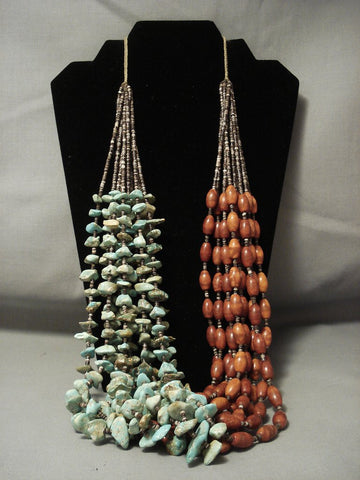 Important And Opulent Navajo Native American Jewelry jewelry **football Coral** Royston Turquoise Necklace-Nativo Arts