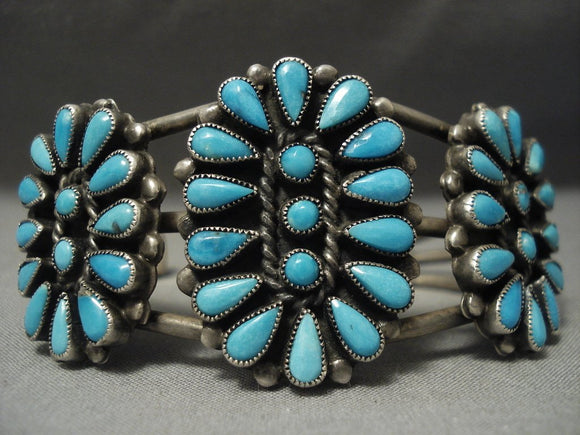Important Ann Lewis Vintage Navajo Turquoise Native American Jewelry Silver Bracelet Old-Nativo Arts