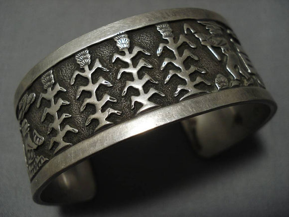 Important Authentic Vintage Native American Navajo Sterling Silver Becenti Bracelet Old-Nativo Arts