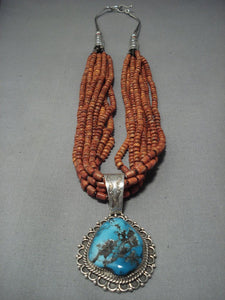 Important Benny Yazzie Coral Turquoise Sterling Native American Jewelry Silver Necklace Old Vintage-Nativo Arts